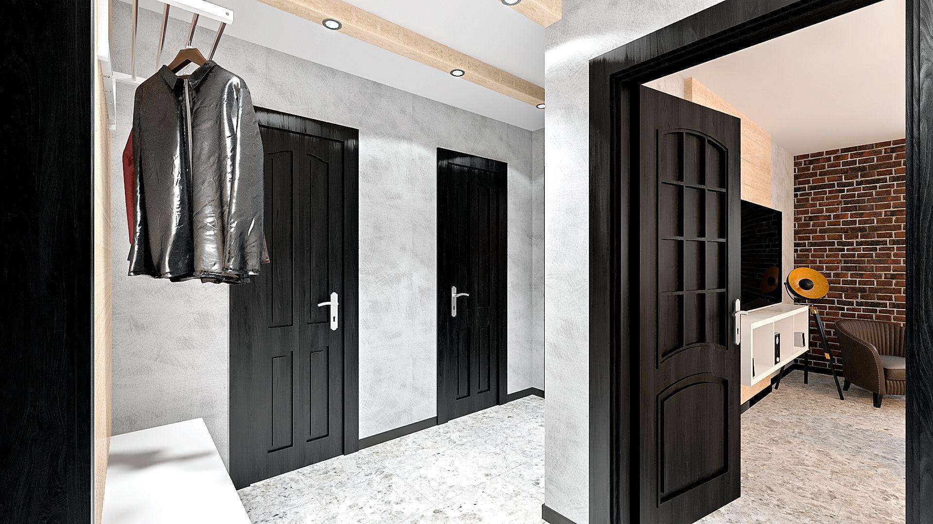 дизайн коридора в стиле лофт в однокомнатной квартире 1