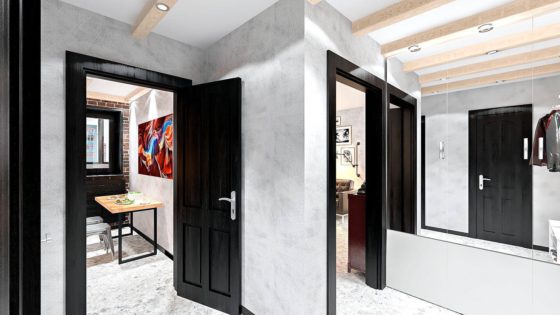 коридор в однушке в лофт стиле с балками на потолке
