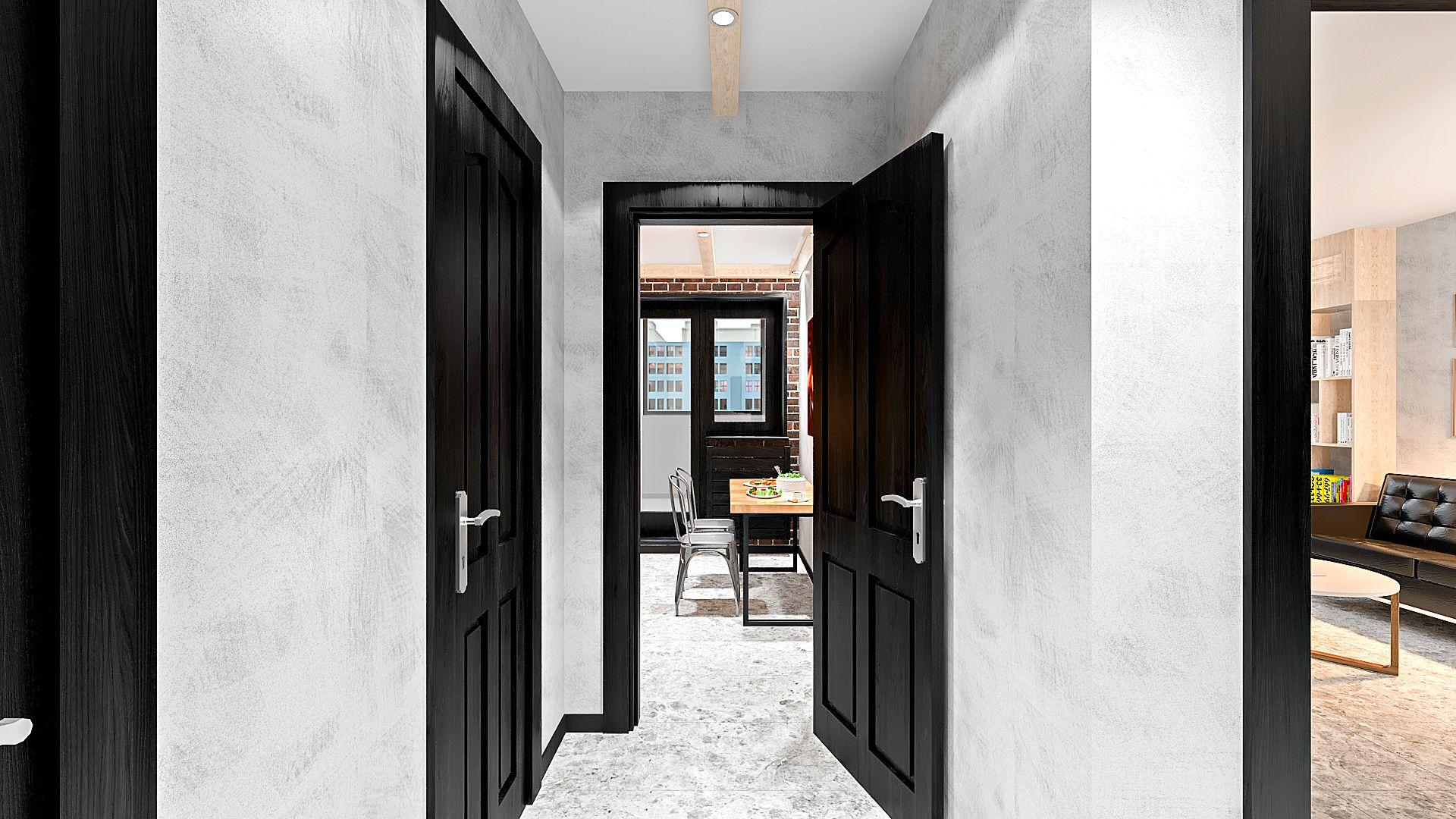 интерьер дизайн лофт коридор маленький
