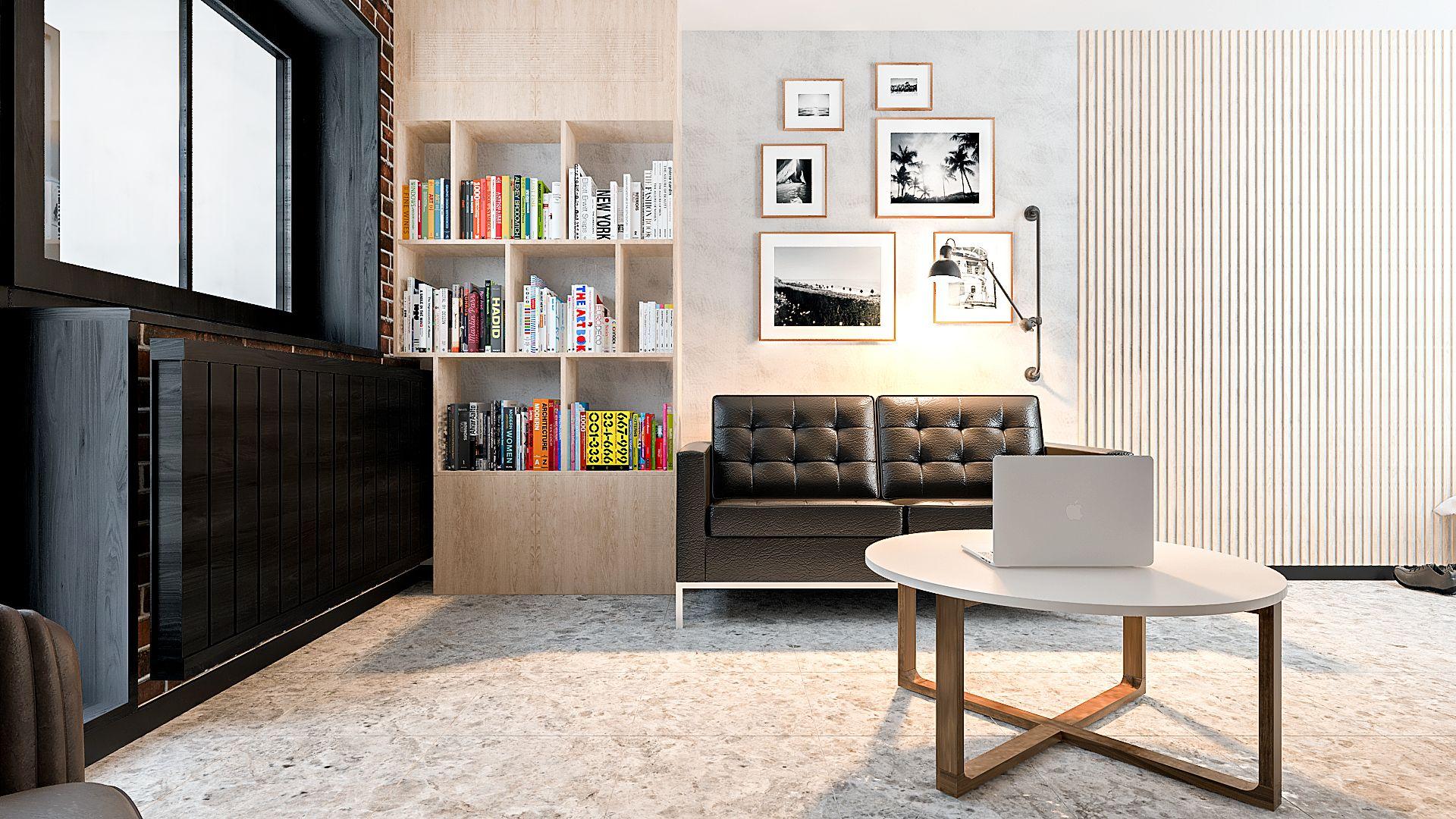 Дизайн однокомнатной квартиры в Гомеле, Гостиная - спальня в стиле лофт, кондиционер спрятан в шкафу, небольшой черный диван, открытые окна, в квартире изображение 2
