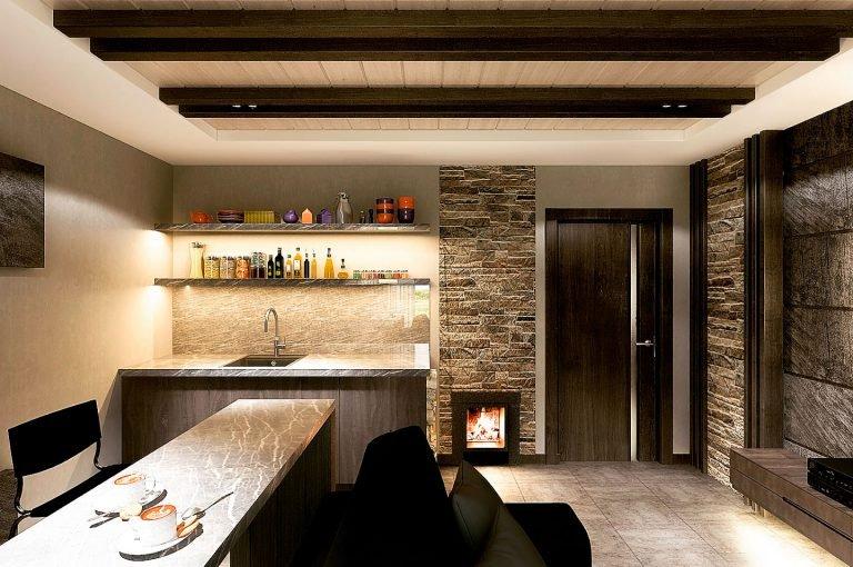 интерьер помещения отдыха в бане
