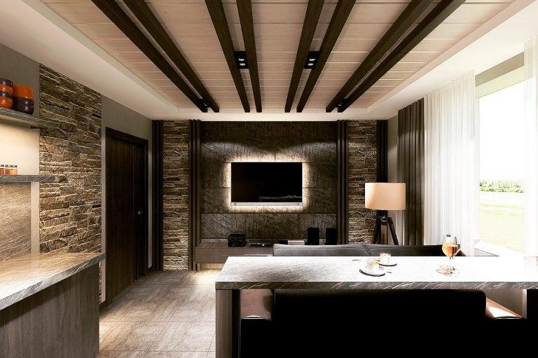 комната отдыха в бане, вид на телевизор, подсветка за тв