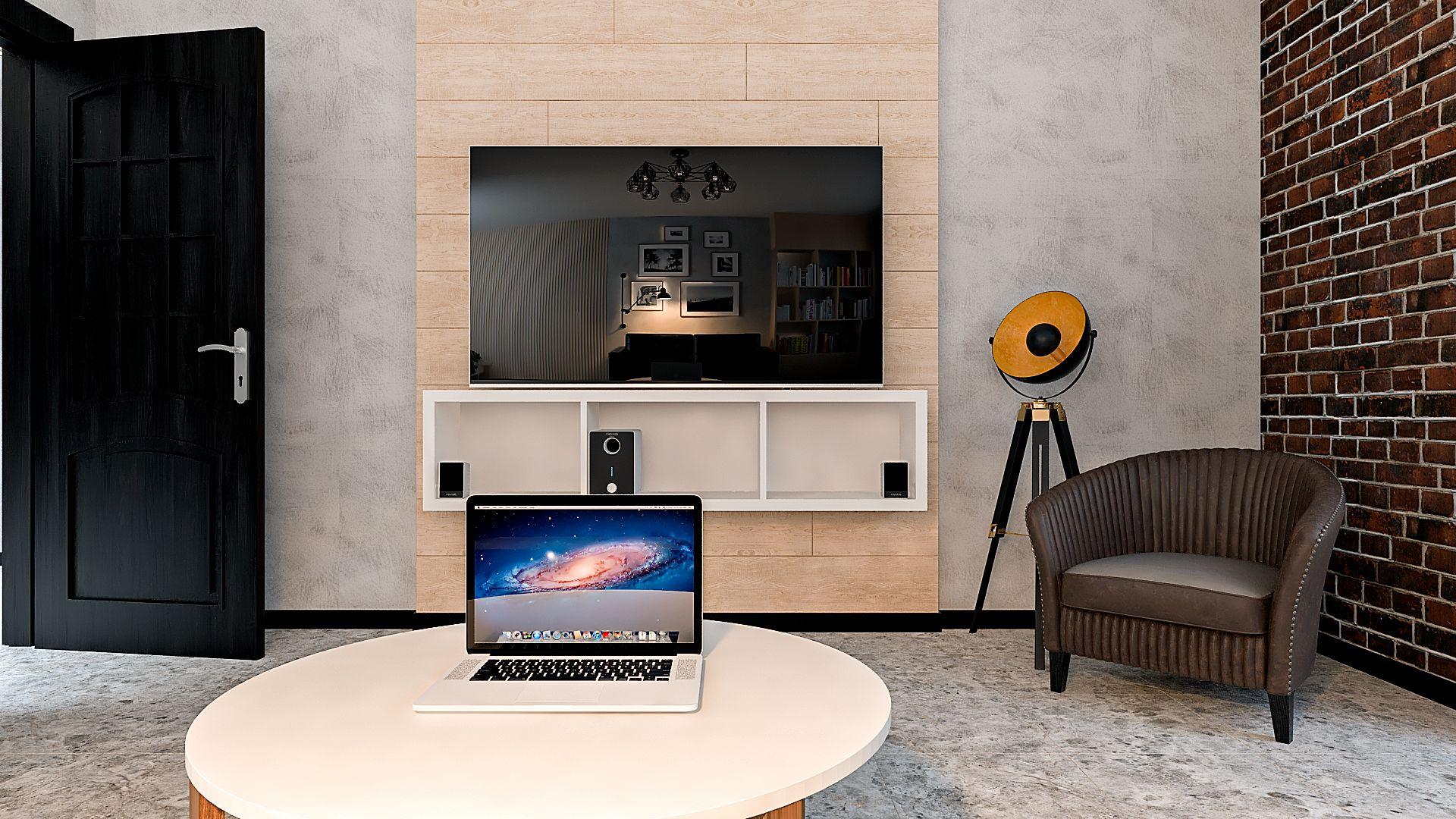 Дизайн однокомнатной квартиры в Гомеле, Гостиная - спальня в стиле лофт в квартире изображение 3, вид на большой телевизор, стена с обшивкой деревом
