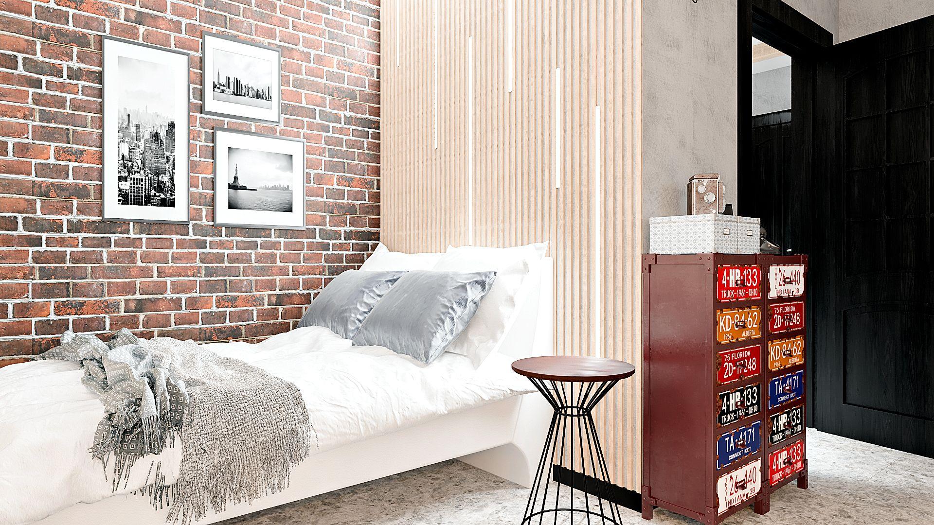 Дизайн однокомнатной квартиры в Гомеле, Гостиная - спальня в стиле лофт в квартире изображение 4, зона спальни, рейки на стене, кирпичная стена возле кровати
