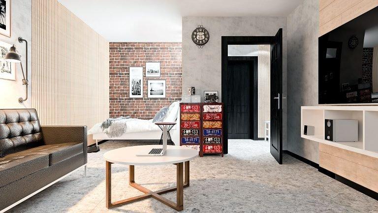однокомнатная квартиры в Гомеле, Гостиная - спальня в стиле лофт в квартире изображение 6, спальня-гостиная в оттенках серого