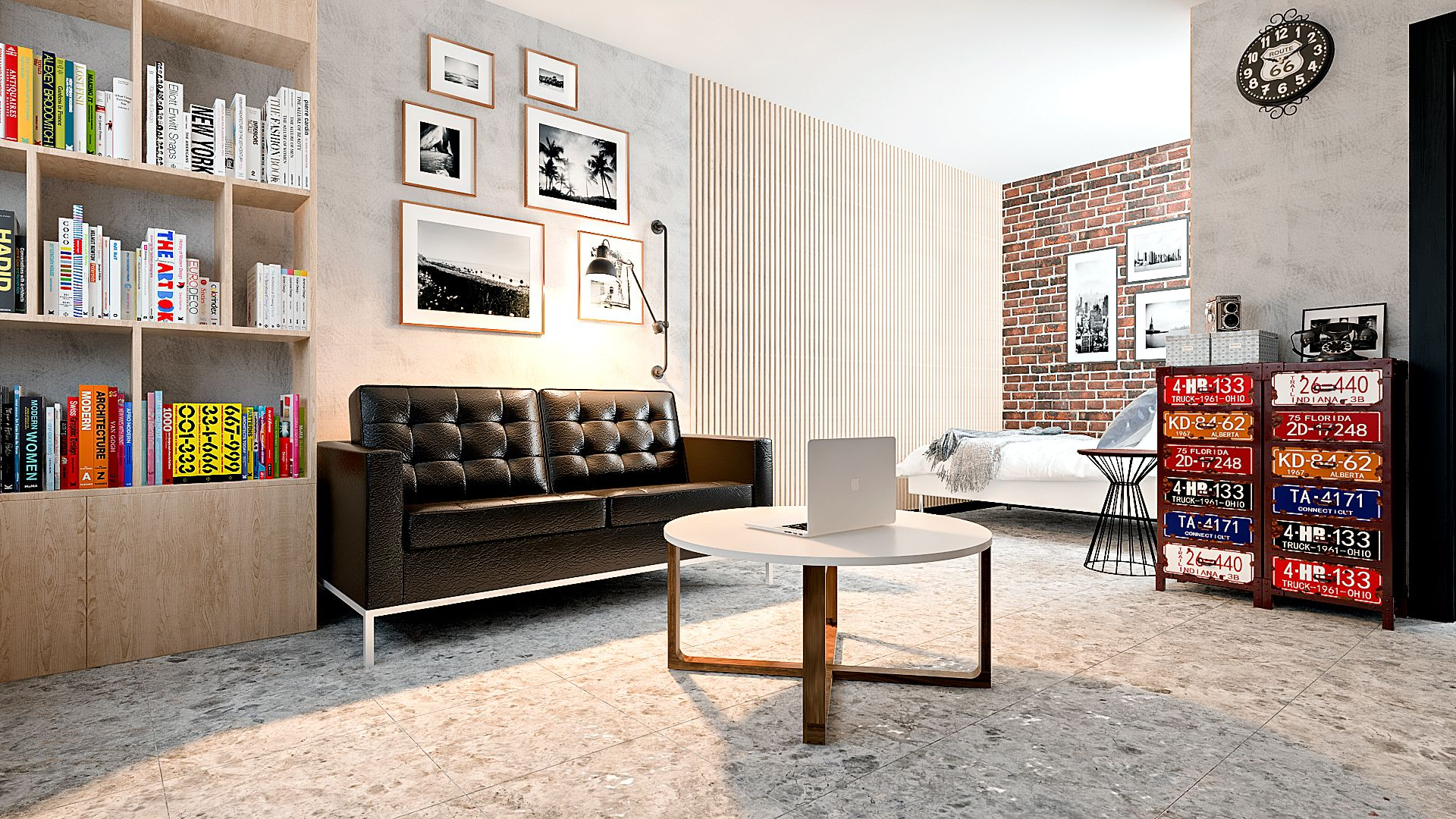 Дизайн однокомнатной квартиры в Гомеле, Гостиная - спальня в стиле лофт в квартире изображение 8, рейки на стене