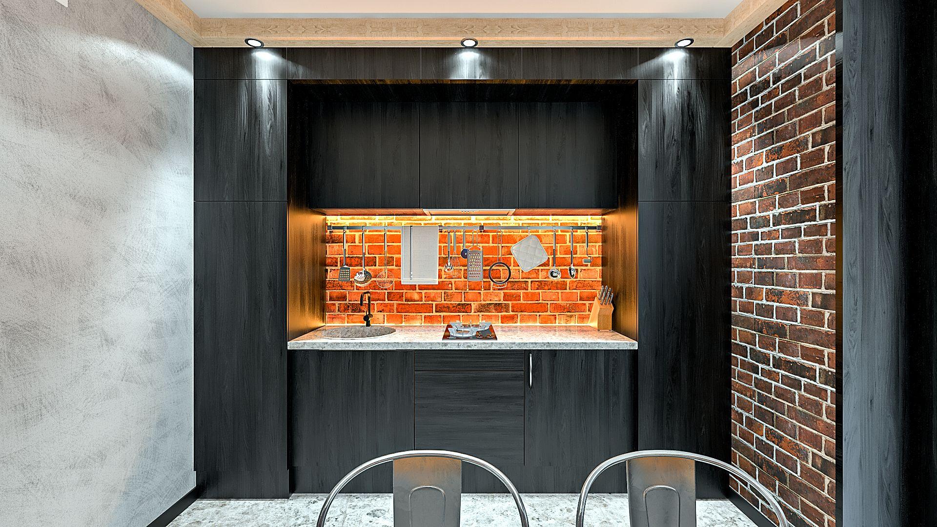 Дизайн однокомнатной квартиры в Гомеле, Гостиная - спальня в стиле лофт в квартире изображение 9, темная кухня, кирпич фартук кухни с подсветкой теплого освещения, компактный кухонный гарнитур в стиле лофт, балки с подсветкой
