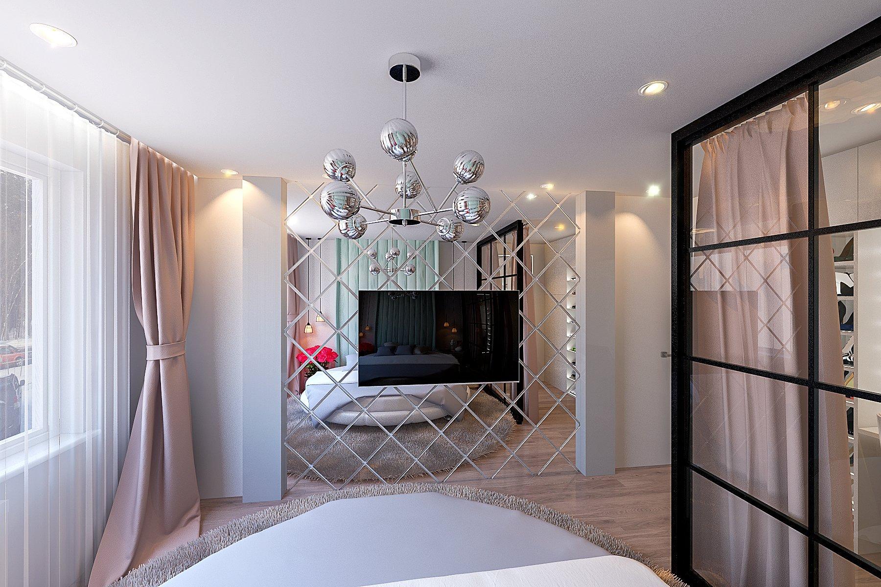Светлая спальня в современном стиле фото, дизайн, 15 - 16 кв. м., шторы и тюль с подсветкой, зеленая обивка изголовья, люстра 8 лампочек, зеркало напротив кровати, вид 3