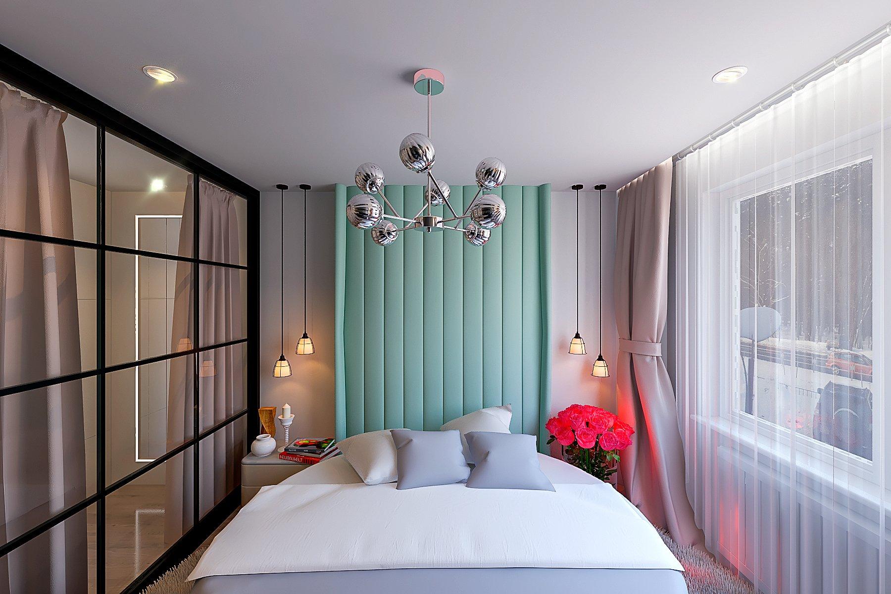 дизайн интерьера спальни, вид на круглую кровать, подвесные светильники теплого цвета, мягкое изголовье за кроватью до потолка, вид 1