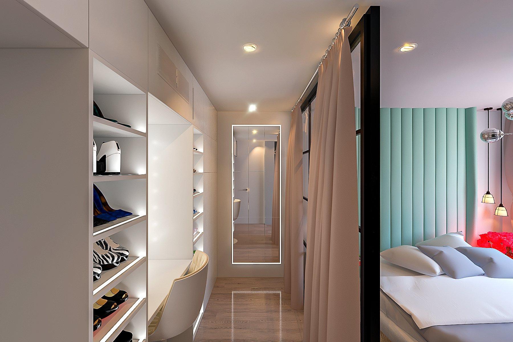 дизайн спальни, шкаф с подсветкой полок, зеркало с подсветкой, перегородка лофт в спальне, шторы возле перегородки, вид 2