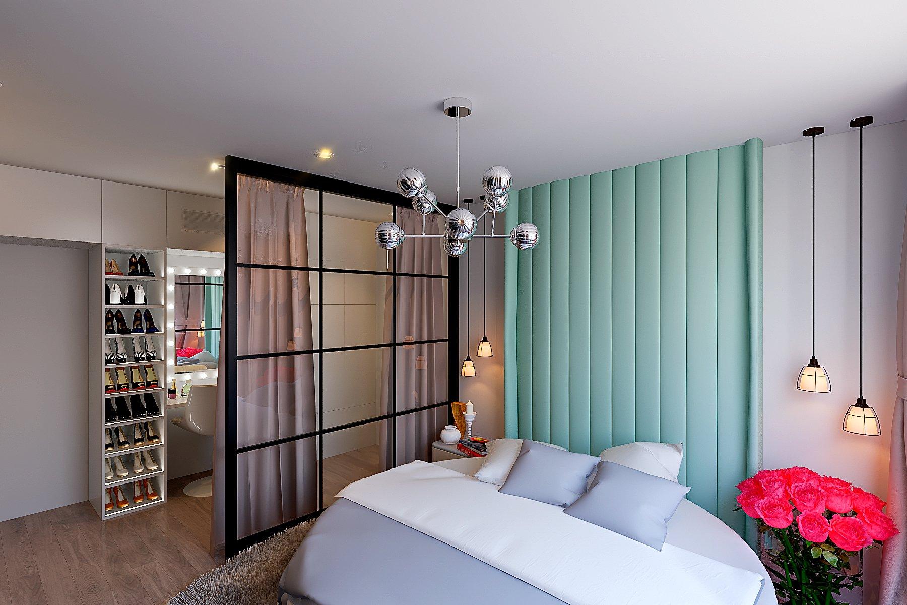 белая, интерьер спальни в современном неоклассике, лофт стиле, шкаф с подсветкой полок, зеркало с подсветкой, перегородка лофт в спальне, шторы возле перегородки, гримерное зеркало в спальне, вид 3