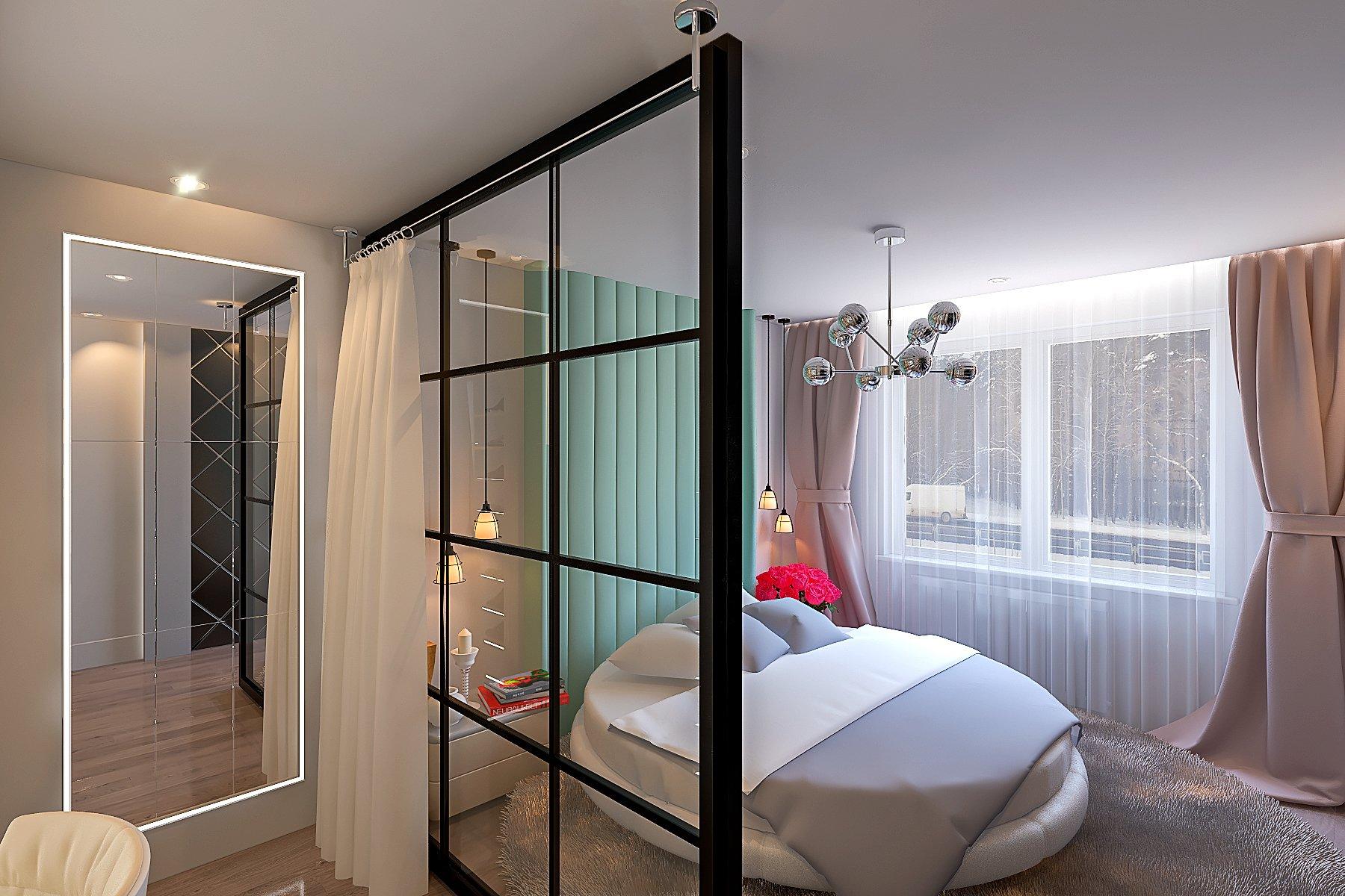 Светлая спальня в современном стиле фото, дизайн, 15 - 16 кв. м., шторы и тюль с подсветкой, зеленая обивка изголовья