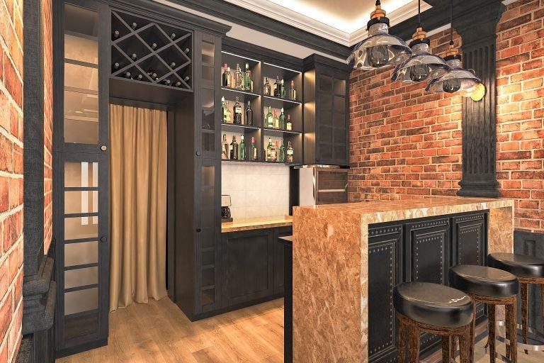 дизайн интерьера гаража в Гомеле в стиле современная классика + лофт, вид на барную, винный холодильник, барная стойка, панели под барной с гвоздиками, подвесные светильники над барной стойкой