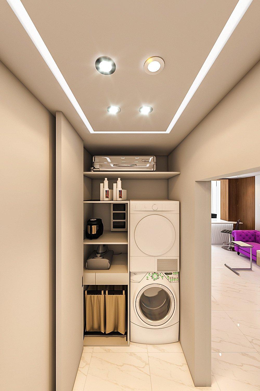 Стиральная, сушильная машины в коридоре в шкафу, утюг, выдвижная встраиваемая гладильная доска, ящик для белья, полки для пылесоса, дверь гармошка до потолка, встраиваемые светильники полосы в коридоре