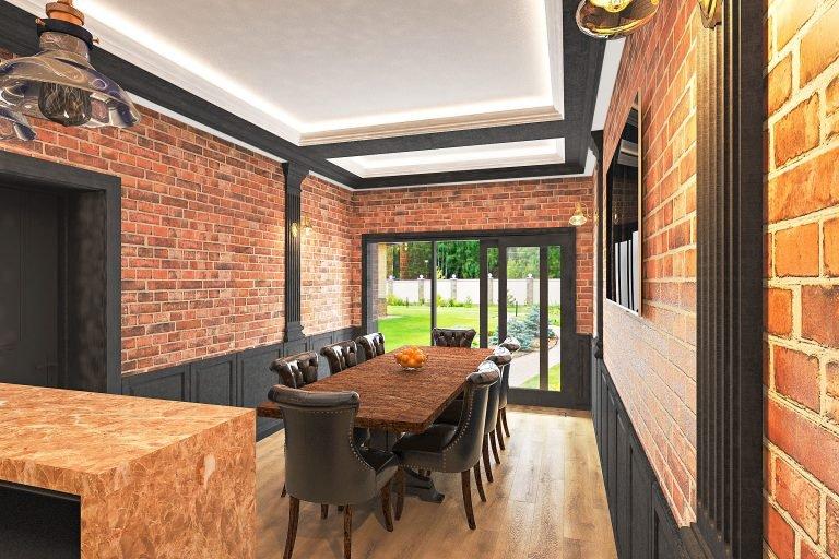Лофт дизайн интерьера гаража в Гомеле в стиле современная классика, стол обеденный на 8 восемь человек, деревянная столешница, панели и пилястры на кирпичных стенах