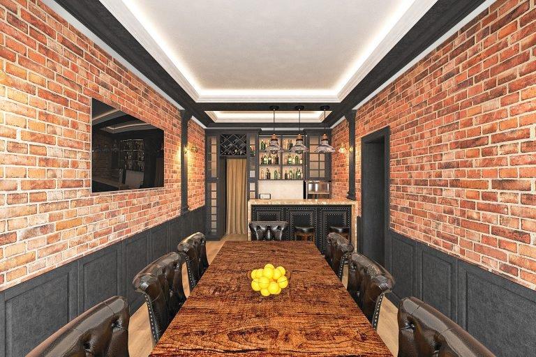дизайн интерьера гаража в Гомеле в стиле классика + лофт, вид из двери со двора, телевизор 65 на стене, потолок с закарнизной подсветкой
