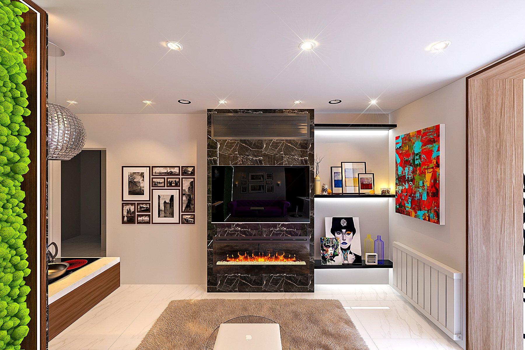 фальшь стена из керамогранита с встроенным электрокамином, телевизором, кондиционером, полки с встроенной подсветкой, мягкий ковер с высоким ворсом, маленький круглый журнальный столик, кухня - гостиная - лоджия 18 кв. м. вид 3
