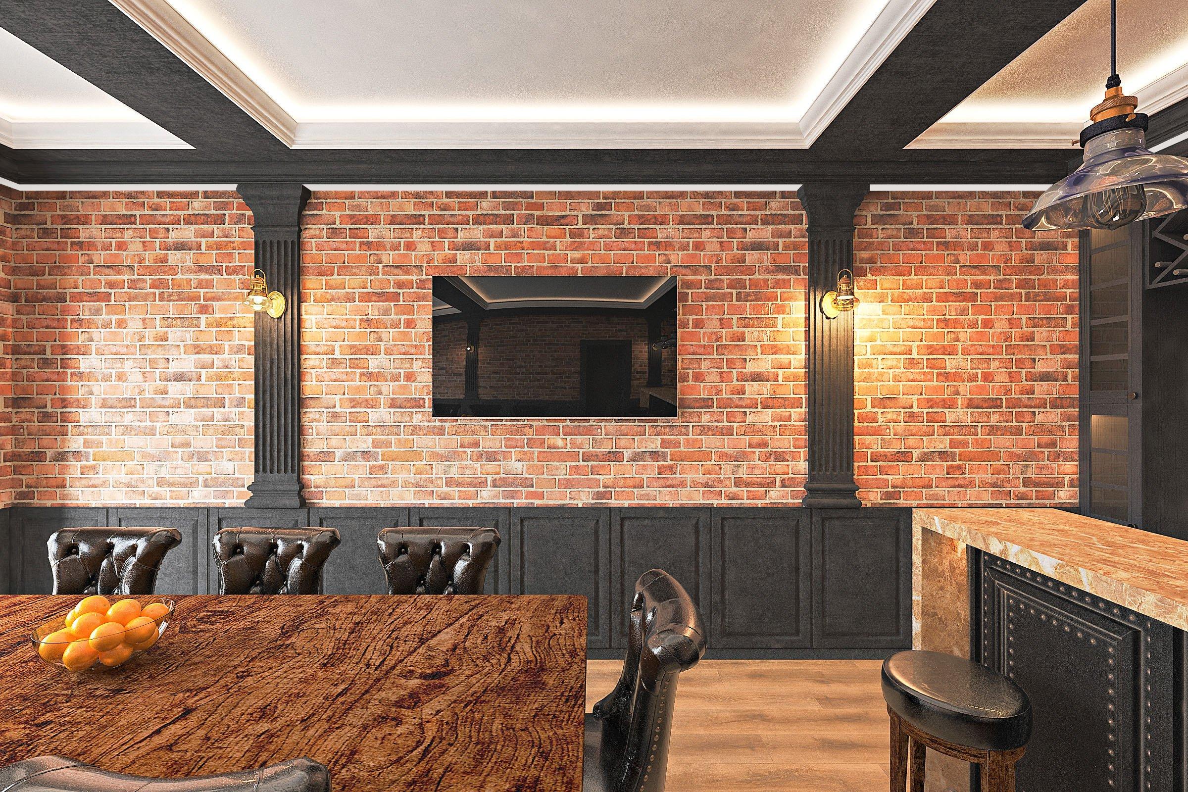 дизайн интерьера гаража в Гомеле в стиле классика + лофт, вид из двери со двора, телевизор 65 на стене, потолок с закарнизной подсветкой, вид 2