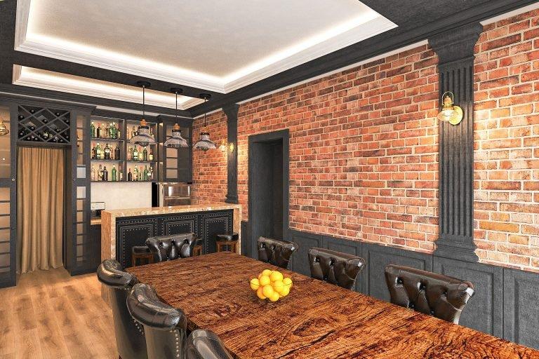 дизайн интерьера гаража в Гомеле в стиле современная классика + лофт,