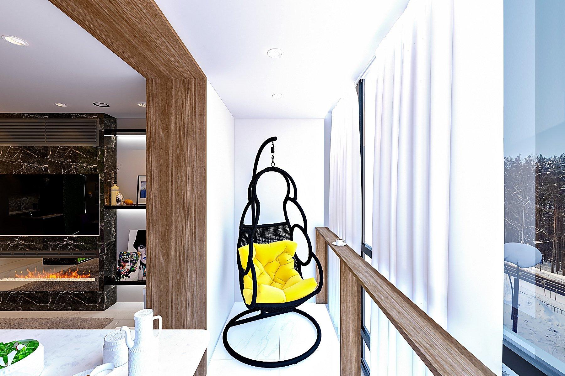 Кресло подвесное на лоджию в однокомнатной квартире в минске, шторы на лоджии, гостиная - лоджия