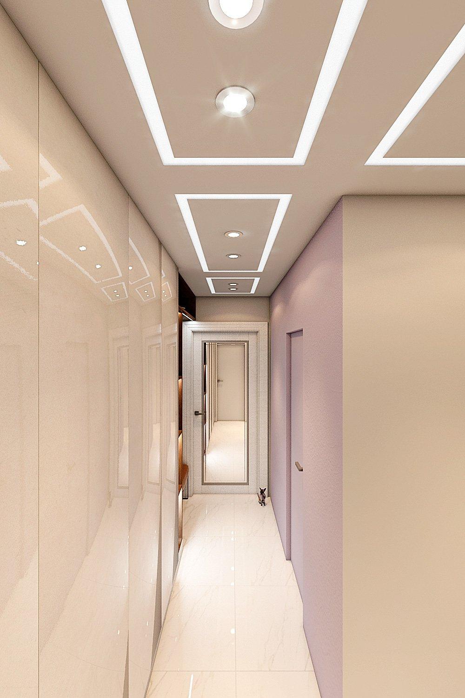 коридор современный светлый, вид со спальни на входную дверь
