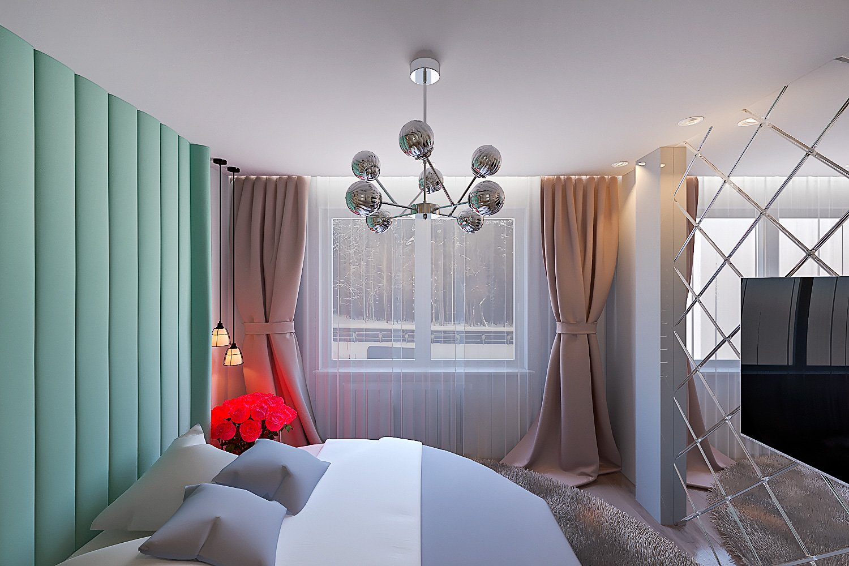 Светлая спальня в современном стиле фото, дизайн, 15 - 16 кв. м., шторы и тюль с подсветкой, зеленая обивка изголовья, люстра 8 лампочек, зеркало напротив кровати, вид 2