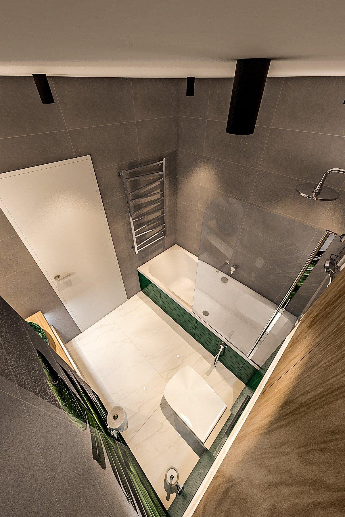 ванная комната в стиле лофт, темная плитка, зеленая плитка на экран ванной