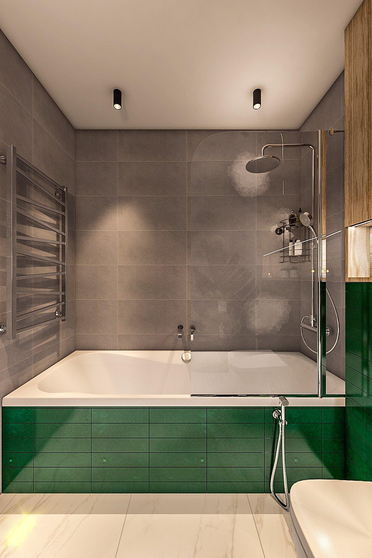 ванная комната в стиле лофт, темная плитка, зеленая плитка на экран ванной, душевой гарнитур, шторка стеклянная на ванну, вид 2