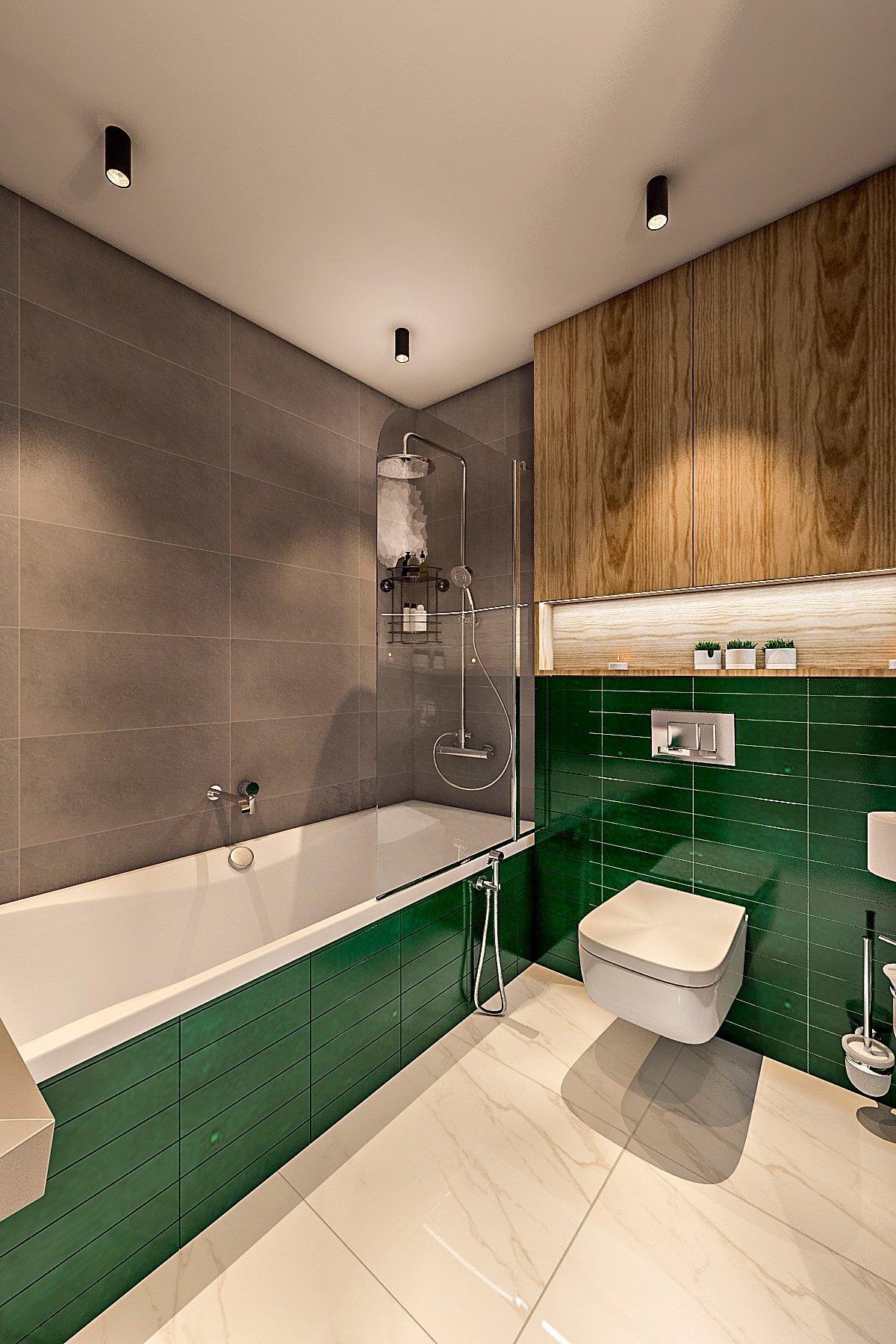 ванная комната в стиле лофт, темная плитка, зеленая плитка на экран ванной, душевой гарнитур, шторка стеклянная на ванну, подвесной унитаз, полка с подсветкой над унитазом, шкафчик над инсталляцией вид 3