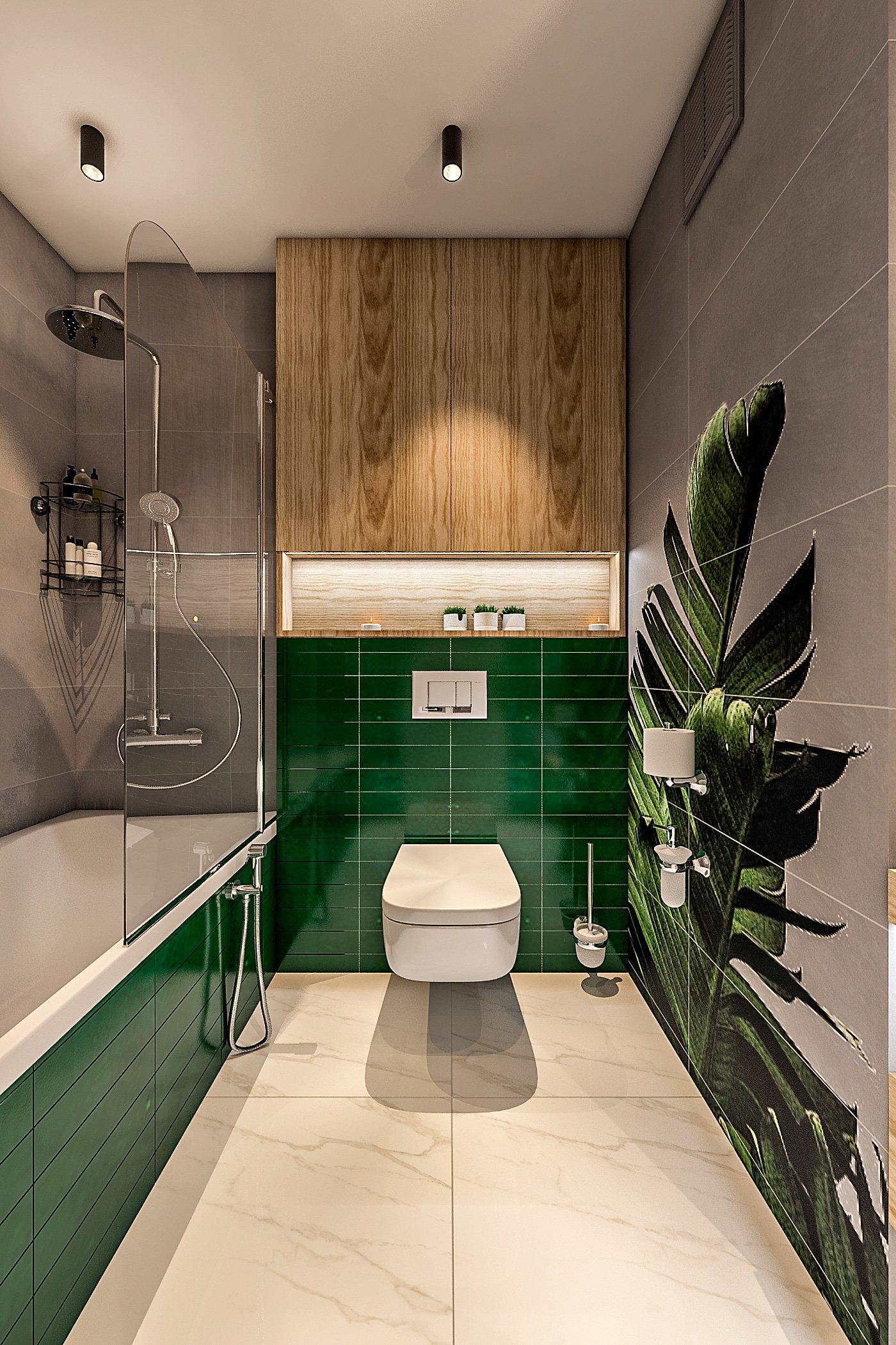"""дизайн санузла в современном стиле, круглое зеркало с подсветкой, раковина зеленая на столешнице, принт на плитке """"банановые листья"""" вид 2"""