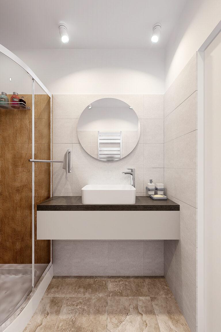 фото круглого зеркала в ванной
