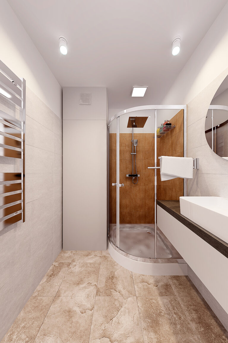 санузел дизайн с душевой кабиной и стиральной, фото 2