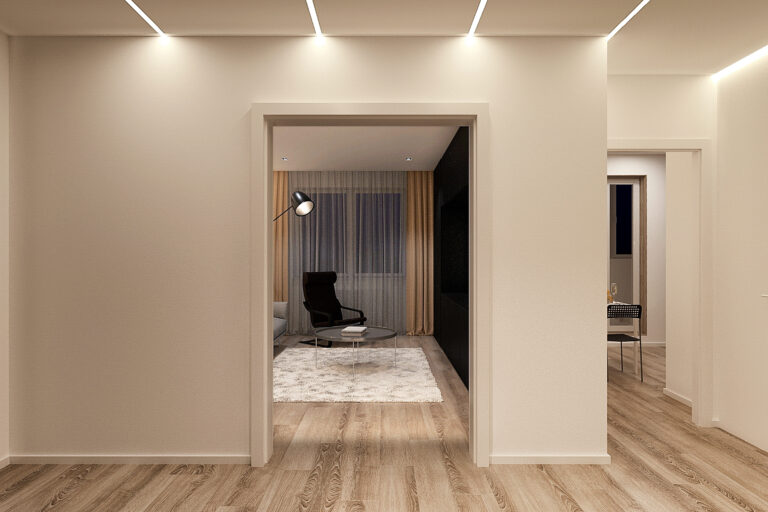 потолок световые линии в коридоре, фото