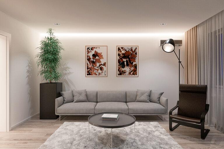интерьер гостиной с диваном в современном стиле, фото 4